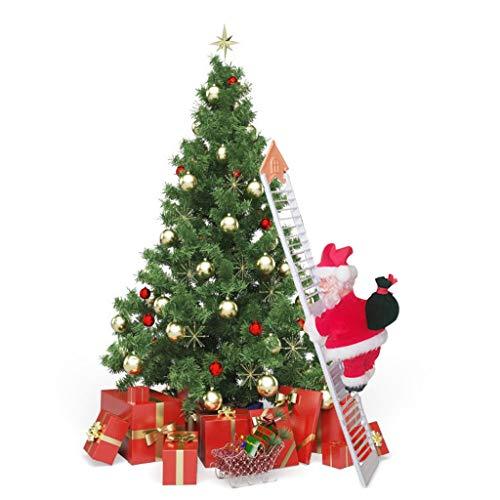 Memeishop Climbing Ladder Santa Christmas Electric Climbing Santa Claus Xmas Figurine Ornament Climbing with Music Hanging Decor Indoor Outdoor Decoration Indoor Outdoor Decoration