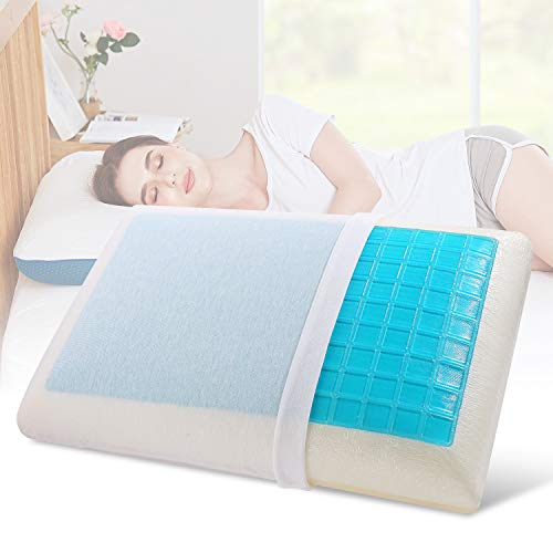 Nesaila Memory Foam Pillow, Doubled-Sided Gel Cooling Pillow, Bed Pillows for Sleeping, Neck Pillow for Pain Relief Sleeping, Best for Side Back Stomach Sleepers-Doubled Pillow Covers (White Blue)
