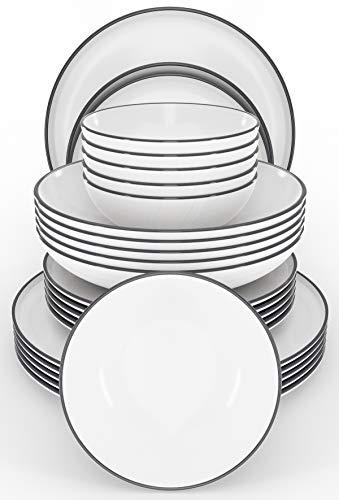 Tafelservice Set Scandi 24-tlg. - Modernes Schüssel- und Teller Set 6 Personen im Trendy Skandinavischen Design - Spülmaschinenfestes Keramik Geschirrset weiß - Stilvolles Geschirr von Pure Living