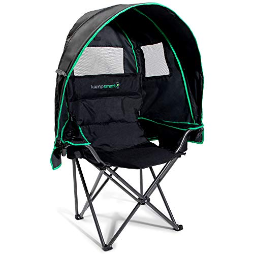 Folding Camping Chair with Canopy - 600D Oxford Cloth with UV Protection - Umbrella Chair with Cooler Bag and Duffel Bag - Ergonomic Canopy Chair with Durable Lock System, 39 x 19 x 38 Inches