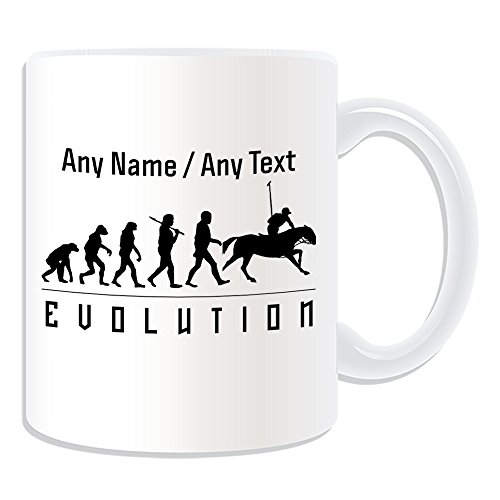 UNIGIFT Gepersonaliseerd geschenk - Polo mok (Evolution Design White) elke naam bericht op unieke - Team Player Outline Contour Olympisch Spel Sport Paard Doel