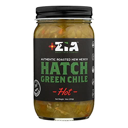 ZIA GREEN CHILE COMPANY, Grn Chile, Hot, Hatch, Pack of 6, Size 16 OZ, (Gluten Free Low Sodium Vegan Wheat Free Yeast Free)