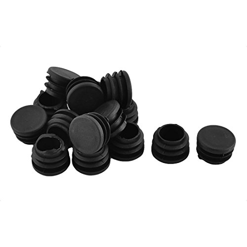 Black Round Plastic Plugs, Antrader Furniture Foot Table Chair Legs Blanking End Ribbed Tube Insert Plug Cap Covers Protector 30pcs (25mm)