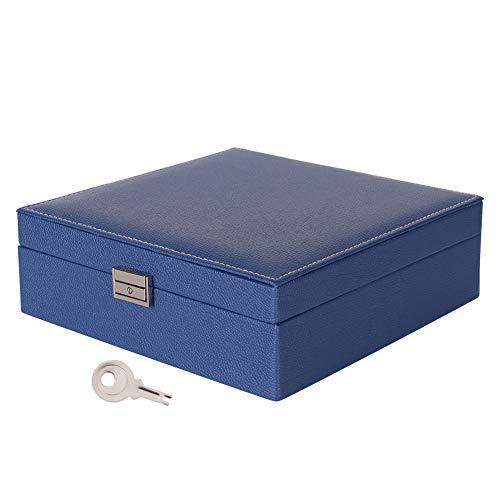 Doppelschicht PU-Leder Schmuck Aufbewahrungsbox, Halskette Ring Container Fall Marineblau, Neue doppelschicht pu leder schmuck aufbewahrungsbox halskette ring container case marineblau