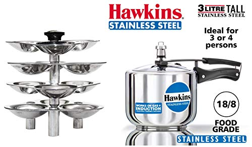 HAWKINS Idli Stand for Pressure Cooker, 5-Liter, Silver & Stainless Steel Tall Pressure Cooker, 3 litres, Silver Combo