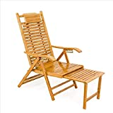 Patio Lounge Chairs Recliner Folding Deck Chair Garden Solid Wood Folding Chair with Pullout Ottoman Outdoor Garden Lawn Deck Chair One Size Sun Lounger Garden Chairs (Color, Size : One Size