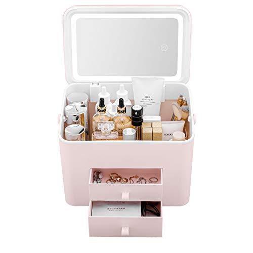 CAOO Boîte de Maquillage avec lumières et Valise de Train Miroir Amovible Boîte de Rangement cosmétique Mallette de Maquillage avec 2 tiroirs, Rose/Blanc