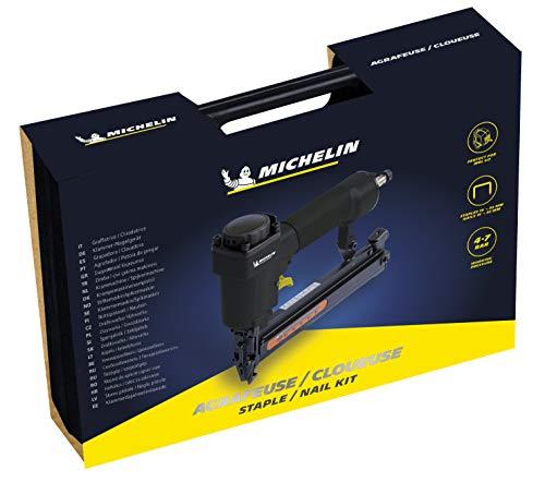 MICHELIN - Kit de grapadora/clavadora MBL-GO (Incluye grapas de 16-32 mm, clavos de 15-32 mm, 1 par de gafas de seguridad, 1 botella de aceite) - Compatible con el compresor de pared MBL-GO
