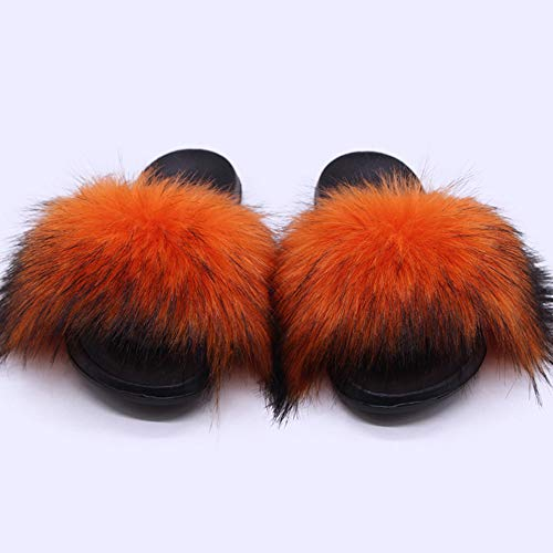 JXILY Pantoufles Fourrure, Fourrure Animale Semelle EVA Super Moelleux Sandales Femme Confortable Fond Plat Chausson en Peluche Antidérapantes,Orange,38