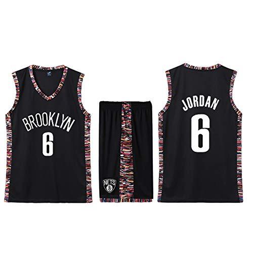 Deandre Jordan Brooklyn Nets Nr. 6 Trikot, Basketballuniform, Fan-Sweatshirt, schweißabsorbierend, atmungsaktiv und pflegeleicht, Unisex-Basketball-T-Shirt für Studenten-Coffee-L