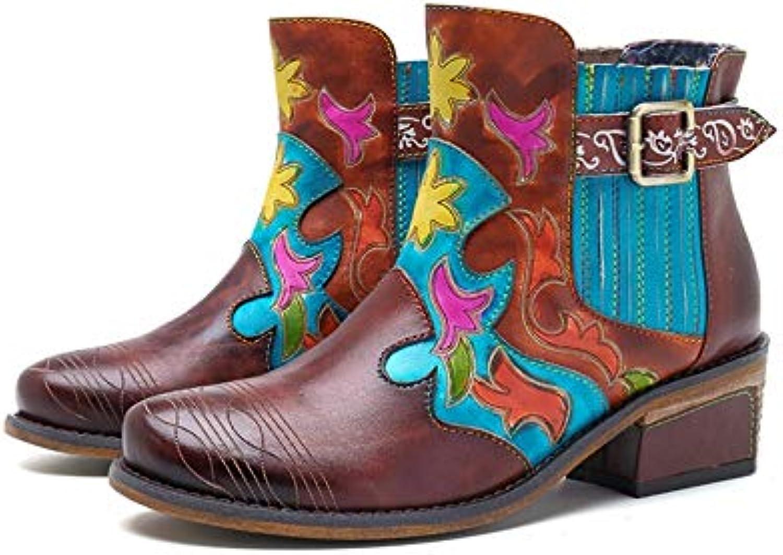 Läder Läder Läder Ladies läder stövlar Cowboy stövlar Contrust Färg Bohemia Patchwork Ankle stövlar (Färg  bspringaaa, Storlek  10.5US)  den mest fashionabla