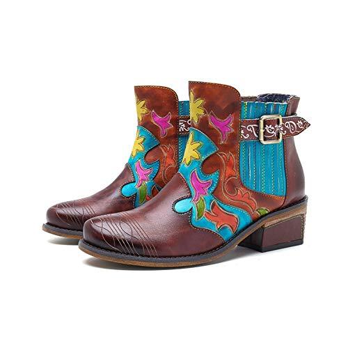 Ruanyi Botines, Botas de Cuero Botas de Vaquero Zapatos de Estilo Bohemio en Color de Contraste para Damas (Color : Brown, Size : 42EU)