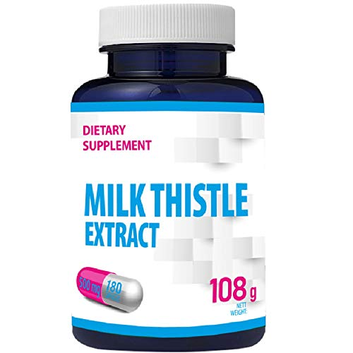 Milk Thistle Extract (80% Silymarin) 500mg 180 Vegan Capsules, Liver Support, High Strength, 6 Months One A Day
