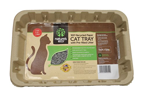 Disposable Cat Litter Boxes, Pre-Filled with 100% Recycled Paper Litter Pellets- 5 Pack of Trays- Includes Litter. Eco Friendly! Simply Peel Off Perforated Lid, Use, Dispose of Entire Tray!