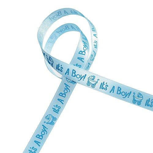 Gaeruite 9,1m/roll è una ragazza/ragazzo carrozzina Baby Shower Gift Ribbon Baby battesimo festa decorazione nastri, nastro regalo imballaggio DIY Crafts, Blue, as show
