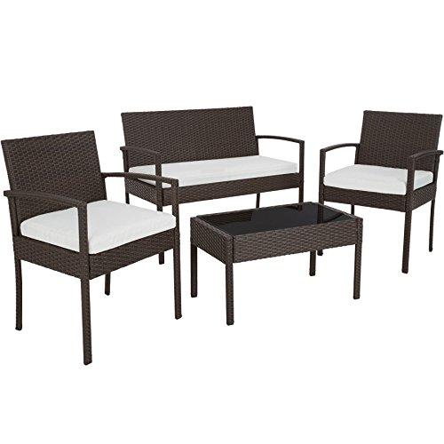 TecTake Conjunto muebles de Jardín en Poly Ratan Sintetico - negro 4 plazas, 2 sillones, 1 mesa baja, 1 banco - disponible en diferentes colores - (Brown antiguo | No. 402113)
