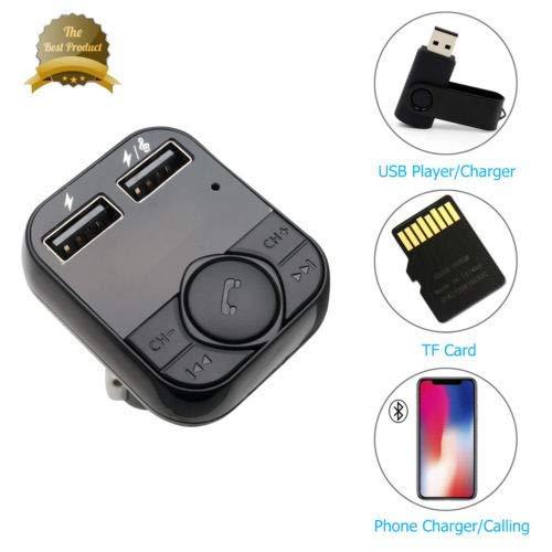 Bluetooth FM-sändare för bil, enorm auto trådlös Bluetooth-radio sändare adapter med handsfree samtal och 5 V/3,1 A dubbla USB-portar billaddare för iPhone iPad Samsung Smartphones