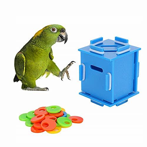 Jeanoko Papagei Münzkassette, Puzzle Training Intelligenzspielzeug Papagei Farbtrennung Münzkassette für Vögel Haustierbedarf(S)