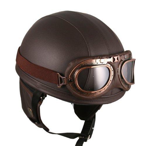 Leather Brown Motorcycle Goggles Vintage Garman Style Half Helmets Motorcycle Biker Cruiser Scooter Touring Helmet