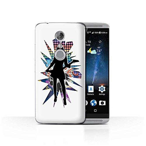 Handy Hülle kompatibel mit ZTE Axon 7/Axon 2 Rock Star Pose Rock Dame Weiß Transparent Klar Ultra Dünne Handyhülle Hülle Cover