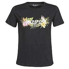 Pepe Jeans Camiseta de Manga Corta Pilar Negro para Mujer