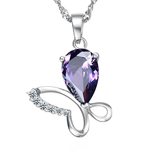 Pearl of Dream Butterfly  Floral Joy Purple Sterling Silver Pendant Necklace