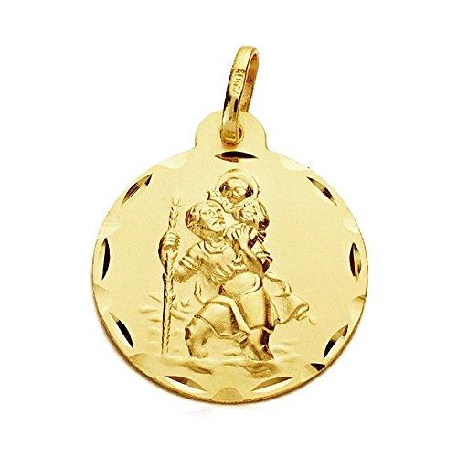 Médaille pendentif San Cristobal 22mm 9k or. [AB3277GR] - personnalisable - ENREGISTREMENT inclus dans le prix