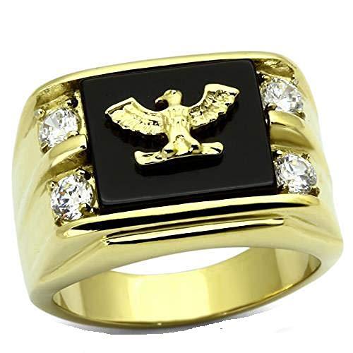 Yourjewellerybox - Anillo con detalle de diamante falso - para hombres - 18kt bañado en oro amarillo, talla 21,5 (19,58 mm)