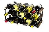 Madera Classic 15 botella de roble oscuro manchado y galvanizado estante del vino del metal ya montados