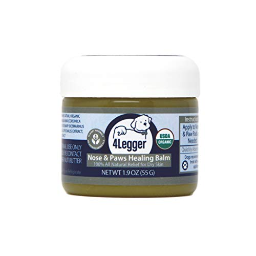 4Legger Certified Organic Nose & Paw Pad Healing Balm Unscented for Dry Chapped and Cracked Paw Pads, Elbows, Snout, Dry Skin with Hemp Oil, Vegan Wax, Calendula & Shea Butter - Made in USA - 1.9 oz