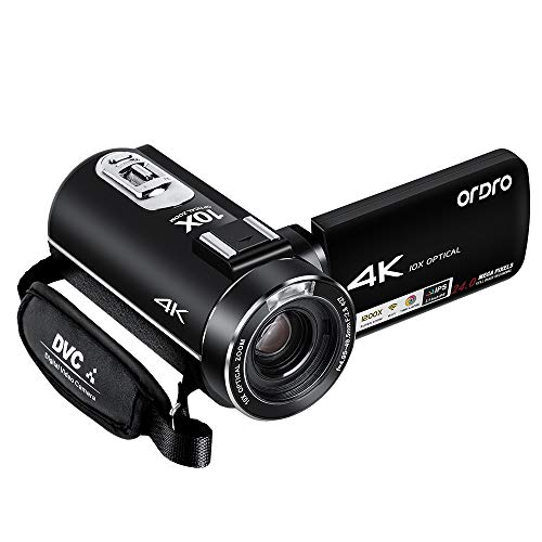 4K Camcorder, ORDRO Camcorder Vlogging Videokamera 4K UHD mit 24 MP, 1080P 30FPS 10x Opt. Zoom, 3.1''IPS Wi-Fi Digitale Video Kamera mit Fernbedienung