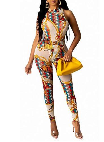 CORAFRITZ Mujer Casual Estampado Gráfico 2 Piezas Clubwear Sin Mangas Cuello Mock Top Bodycon Cintura Alta Pantalones Largos Traje de Moda para Mujer Lounge Wear Conjuntos