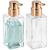 mDesign Glass Refillable Foaming Hand Soap Dispenser Modern Square Pump Bottle for Bathroom Vanities or Kitchen Sink, Countertops - 2 Pack - Clear/Copper