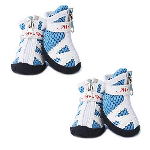 XXXS Hundeschuhe Tennis Laufen - kleine Hunde Stiefel Atmungsaktiv Mesh Pfotenschuhe - Haushunde Schuhe rutschfest bleiben auf Indoor Schuhe für Pudel/YorkshireTerrier/Chihuahua rot, size 2, blau