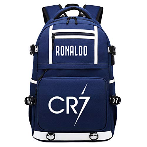 Soccer Player Star Ronaldo Multifunction Luminous Backpack CR7 Travel Student Backpack Football Club Fans Schoolbag (Style 2)