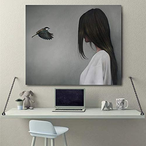 PLjVU Mujer y pájaro Papel Pintado Abstracto Arte Lienzo Pintura Moderno Arte de la Pared Cartel Imagen para la decoración de la Sala de Estar del hogar-Sin marco40X48cm