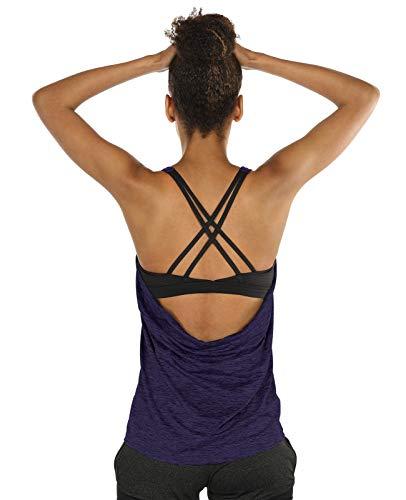 icyzone Damen Sport Yoga Top mit BH - 2 in 1 Fitness Shirt Cross Back BH Training Tanktop (S, Purple)