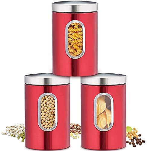 Recipiente para Alimentos, Bote para Conservar Alimentos, Café, Té Sellados en Cocina, Tarro Sellado 1.5L per Envase Juego de 3, Acero Inoxidable, Almacenar Comida (Rojo)