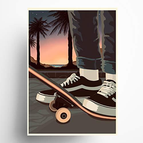 Vintage Poster Skater Din A3 (29,7 x 42,0 cm) || Bilder Wandeko | Kunstdruck auf Qualitäts Papier | Wand-Bilder Wohnzimmer | Made in Germany | Poster perfekt fürs Schlafzimmer, Wohnzimmer und Flur