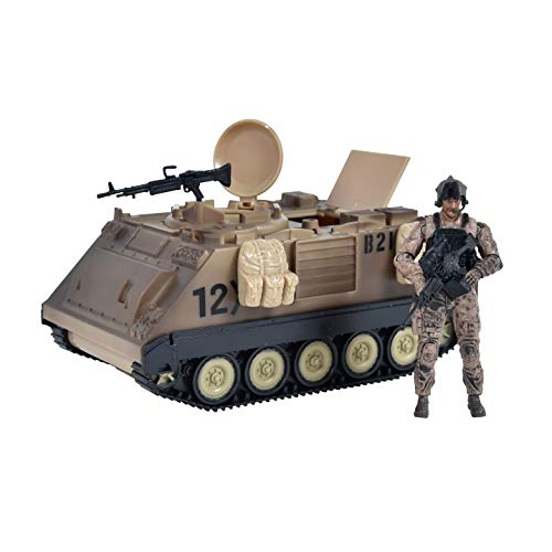 Sunny Days Entertainment Elite Force M113 Desert Armored Vehicle – Playset with Action Figure and Realistic Accessories | Military Toy Set for Kids