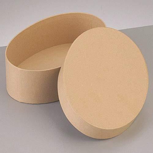 Lealoo Grote doos, ovaal, groot, 16,5 x 10,5 cm x 8 cm hoogte met deksel van karton, om te versieren