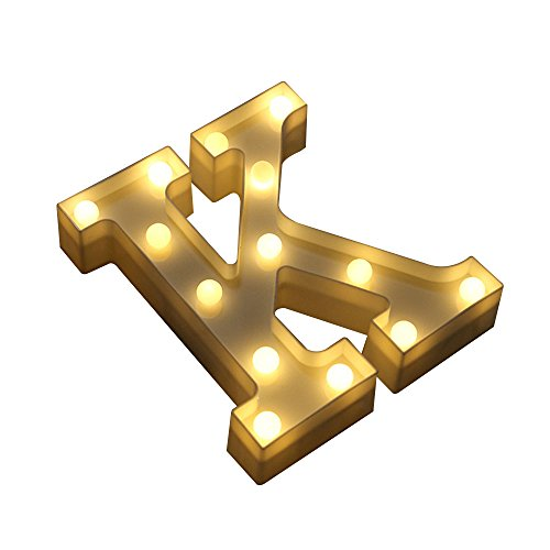 Jiayuane Plastic Alphabet Letter A to Z Carnival Decorative DIY LED Weeding Lights Battery Operated ,k