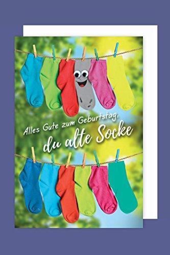 Geburtstag Karte Grußkarte Alte Socke Kullerauge 16x11cm