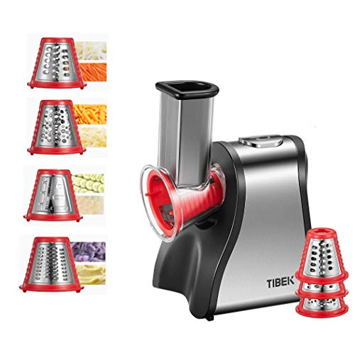 Rallador Electrico, TIBEK Rallador de Queso Eléctrico Acero Inoxidable con 5 Accesorios, Ralladores de Queso, Verduras y Fruta, Batidos, Sin BPA/Rojo