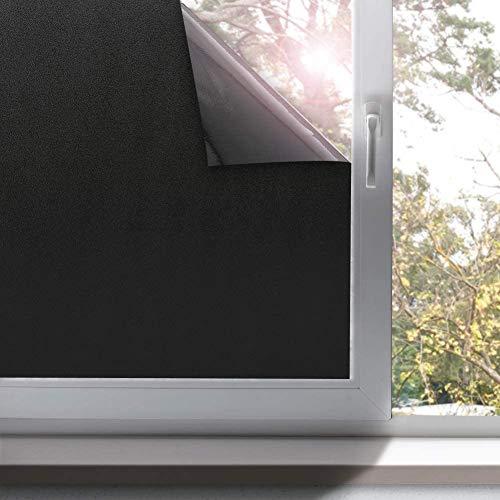 rabbitgoo verduistering venster film hoge privacy kamer donker maken Frosted Window Tint zwart Sticker venster Cover licht blokkeren statische Cling Vinyl voor dag slapen 44,5x200CM