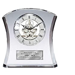 Tower Da Vinci Crystal Clock with Silver Dial and Silver Engraving Plate Personalized Desk Clock Wedding Gift Retirement Employee Service Awards Executive Gifts
