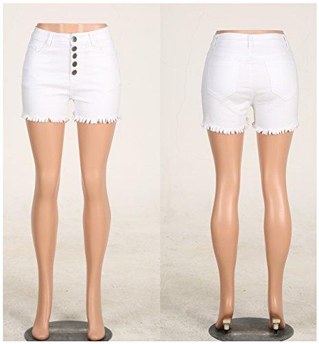 Women's Teens Girls Stretchy Jean Shorts High Rise Denim Shorts White XL