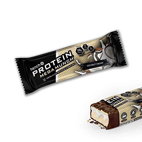 Hench Protein Mega Munch Bar - 20g Protein - Low Sugar - 9 Vitamins (Coconut Cream, 8 x 65g)