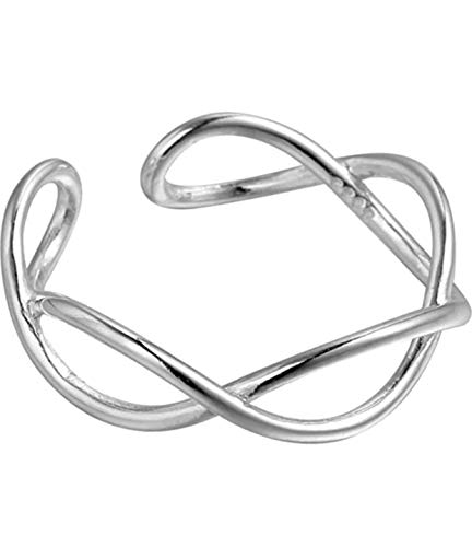 iszie jewellery sterling silver ring thumb, midi ring adjustable infinity open twist...