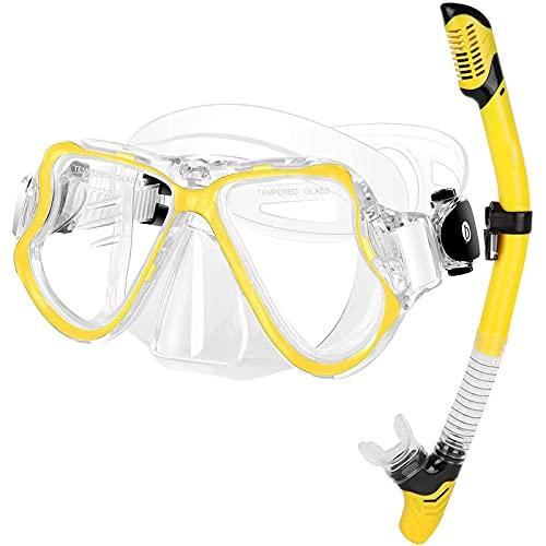 NZQK Traje de esnórquel, sistema de respiración de tubo superior seco, máscara panorámica antivaho y a prueba de fugas, para principiantes de buceo